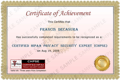 Certified HIPAA Privacy Security Expert Certificate