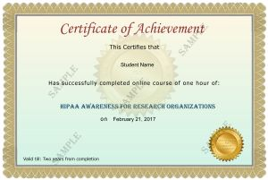 Research Organizations and Activities HIPAA Awareness