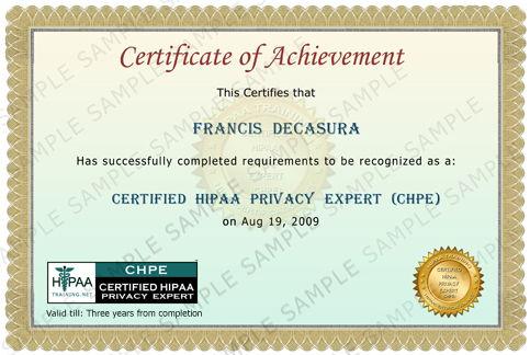 Certified HIPAA Privacy Expert Certificate