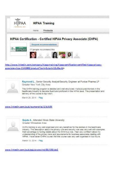 CHPA LinkedIn Testimonials