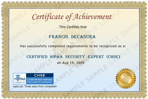 Certified HIPAA Security Expert Certificate