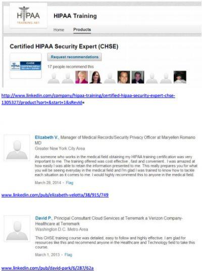CHSE LinkedIn Testimonials