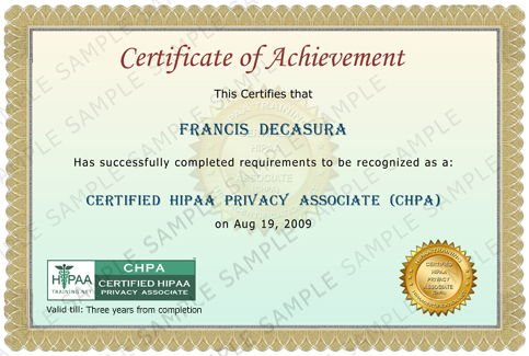 Certified HIPAA Privacy Associate Certificate