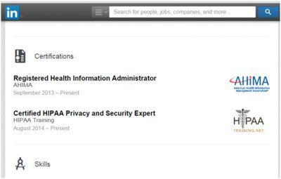 HIPAA certifications